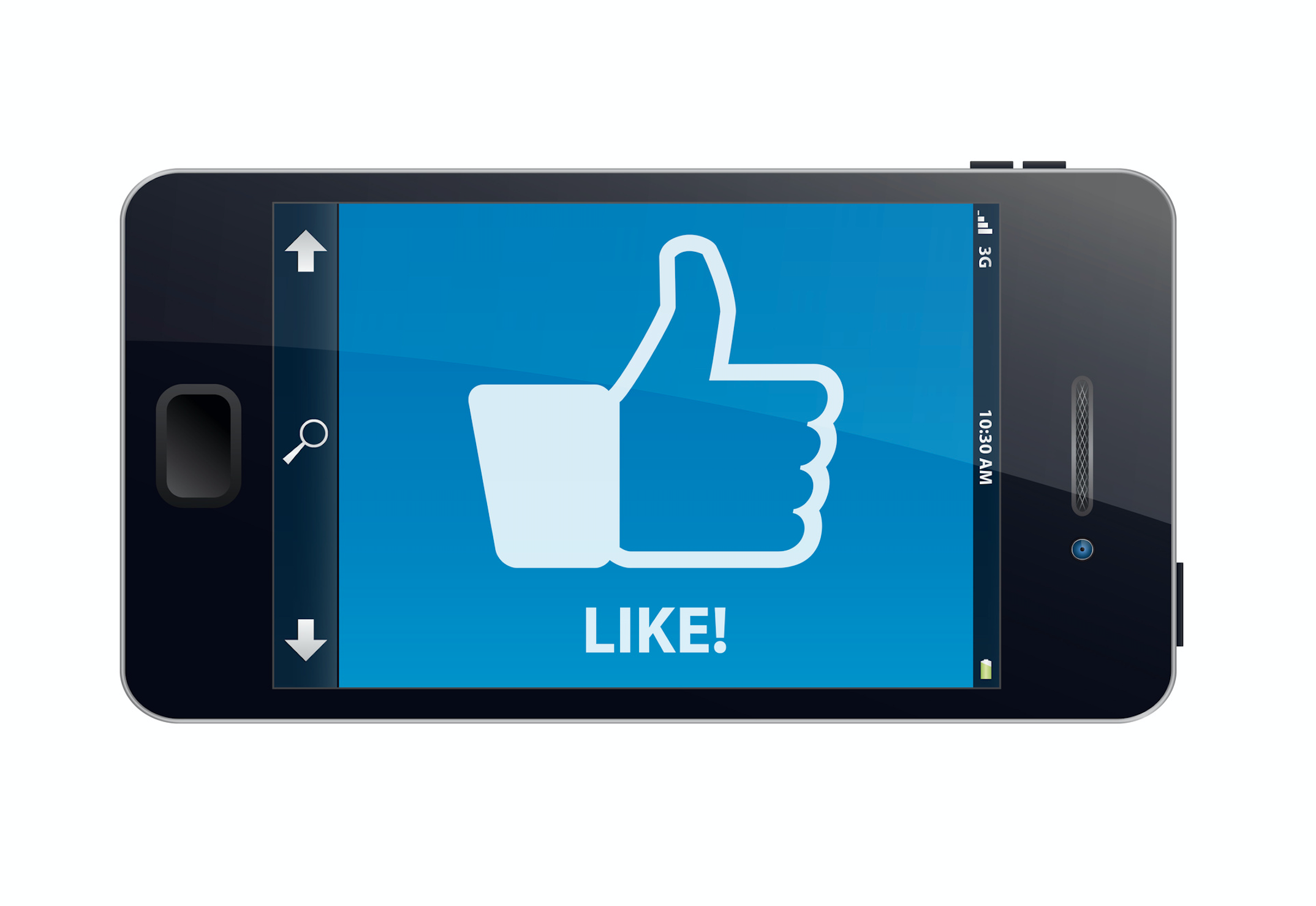 phone with Facebook like icon